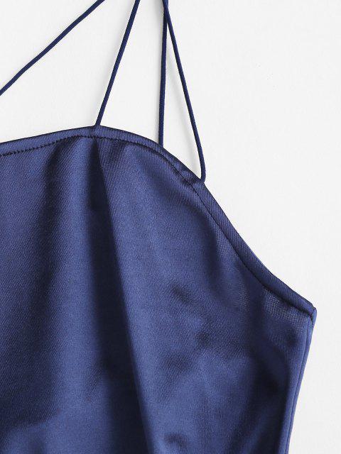 shop Criss Cross Sheeny Bodycon Cami Dress - DEEP BLUE L Mobile