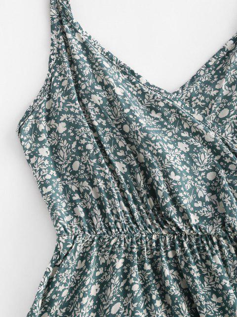 new Ditsy Print Smocked Back Flouned Hem Surplice Sundress - GREEN S Mobile