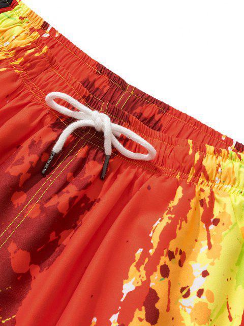 unique Painting Splash Print Vacation Shorts - RED XL Mobile