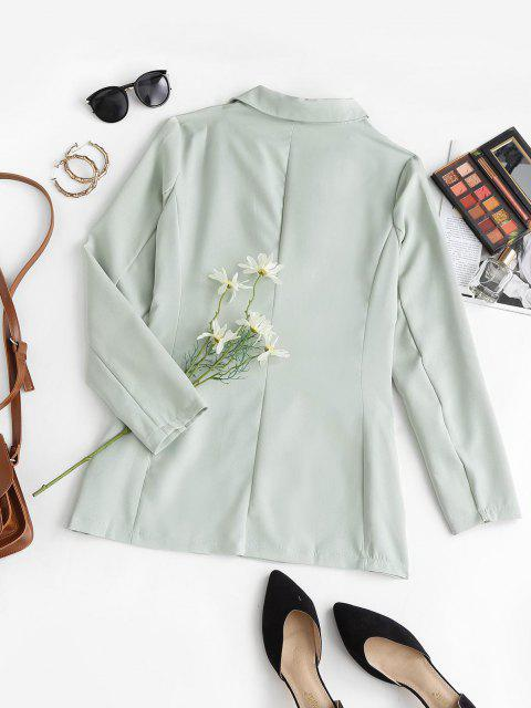 chic Flap Detail Single Breasted Lapel Blazer - LIGHT GREEN L Mobile