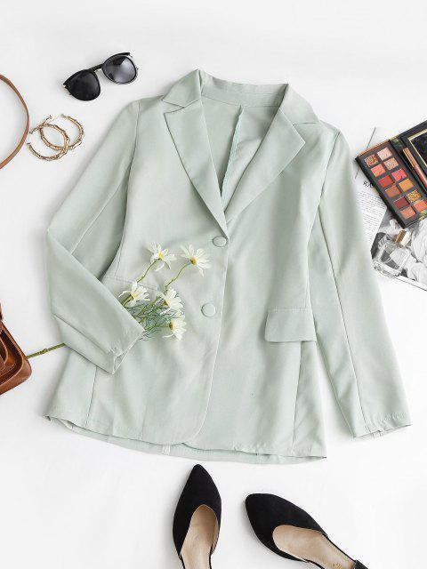 fancy Flap Detail Single Breasted Lapel Blazer - LIGHT GREEN M Mobile