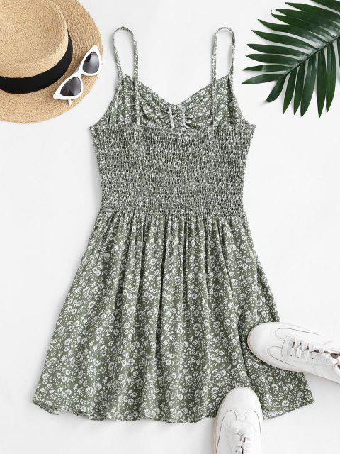 ladies Ditsy Floral Cutout Smocked Cami Sundress - LIGHT GREEN S Mobile