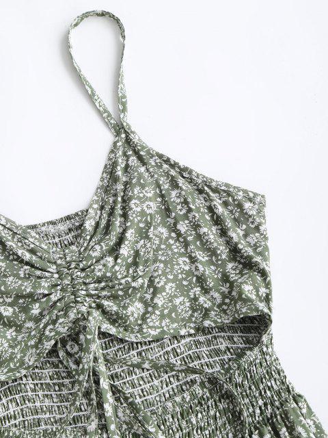 Robe D'Eté Fleurie Découpée à Bretelle à Volants - Vert clair XL Mobile