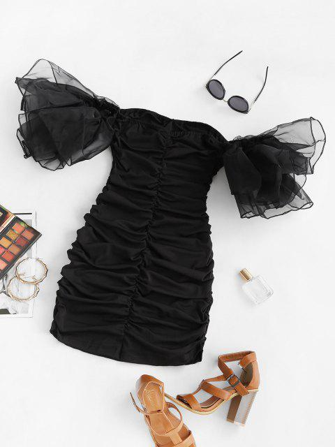 ladies Organza Layered Sleeve Ruched Off Shoulder Dress - BLACK L Mobile