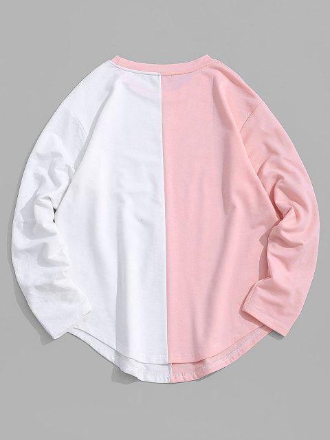 ZAFUL Letter Print Curved Hem Two Tone T-shirt - وردي فاتح XL Mobile