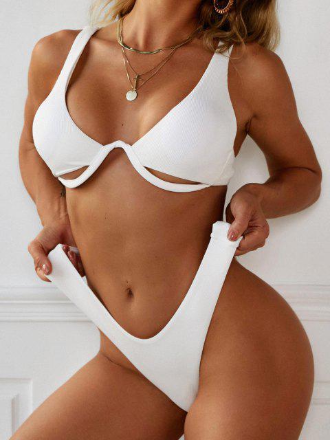 shop ZAFUL High Cut Monowire Underboob Bikini Swimwear - WHITE M Mobile