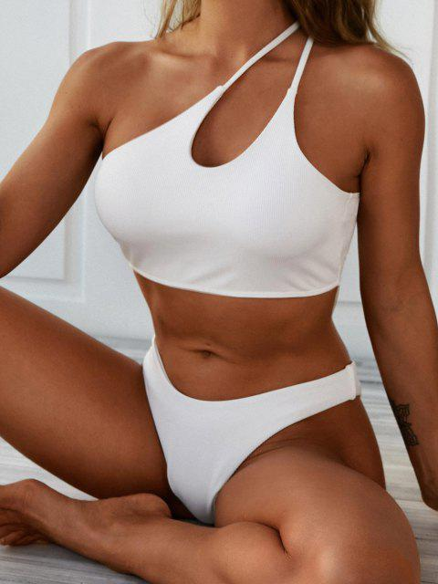 trendy ZAFUL One Shoulder Cutout Ribbed Crop Swim Top - WHITE M Mobile