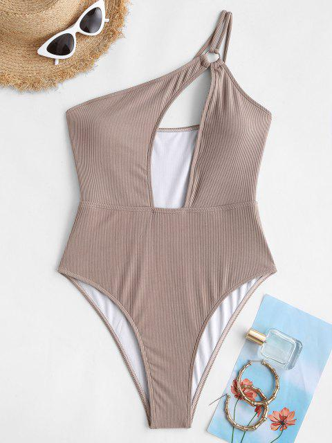 women's ZAFUL One Shoulder Ribbed Ring Cutout One-piece Swimsuit - COFFEE S Mobile