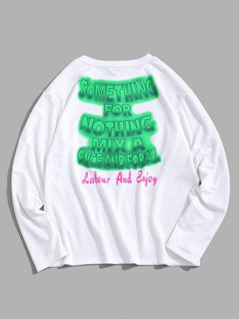 shops ZAFUL Letters Text Print Graphic Sweatshirt - WHITE 2XL Mobile