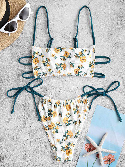 Costume da Bagno Bikini Floreale a Costine con Nodo Laterale di ZAFUL - profondo Giallo S Mobile