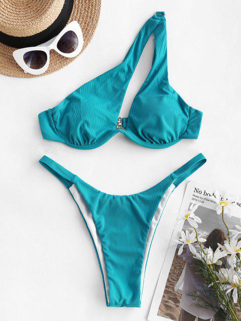 ZAFUL Costume da Bagno Bikini a Righe con Ferretto - Blu S Mobile