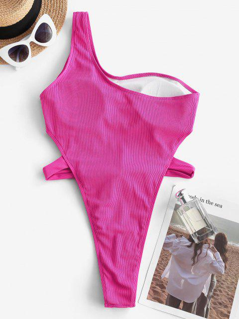 trendy ZAFUL Ribbed Tie Waist One Shoulder One-piece Swimsuit - LIGHT PINK S Mobile