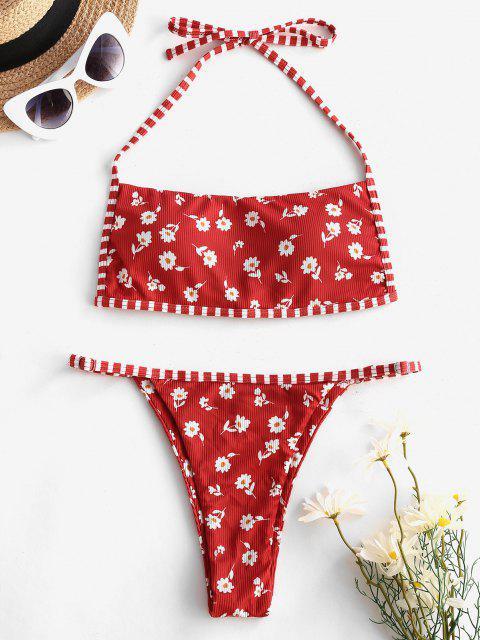 ZAFUL Costume da Bagno Bikini a Righe con Stampa Incrociata Ditsy - Rosso S Mobile