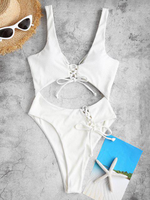 ZAFUL Ribbed Lace-up Plunge Cutout One-piece Swimsuit - أبيض S Mobile
