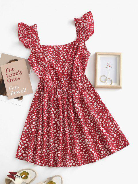 womens ZAFUL Floral Print Ruffle Armhole Mock Button Flare Dress - DEEP RED M Mobile