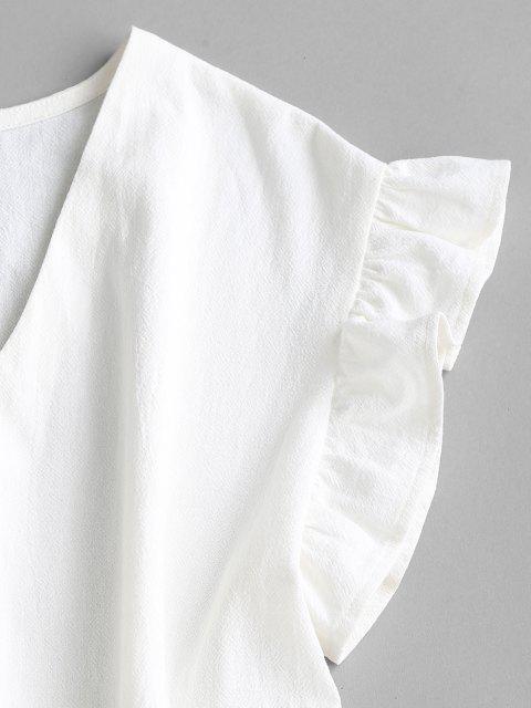 ZAFUL Rüschenarmloch Abgestufte Minikleid - Weiß XL Mobile