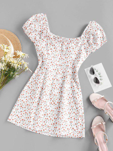 ZAFUL Mini Kleid mit Kleinem Blumendruck - Weiß S Mobile