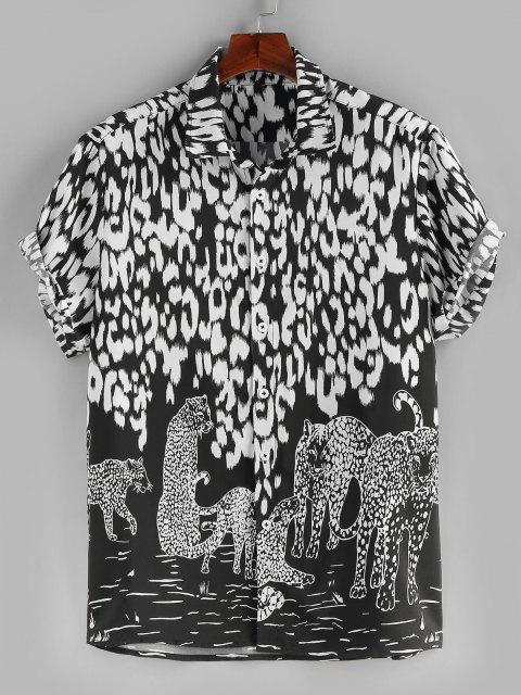 ZAFUL Farbblock Leopard Bedrucktes Feiertags Hemd - Schwarz XXL Mobile