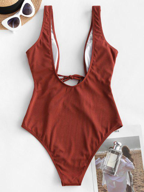 best ZAFUL Ribbed Tie Front Cutout One-piece Swimsuit - DEEP RED XL Mobile