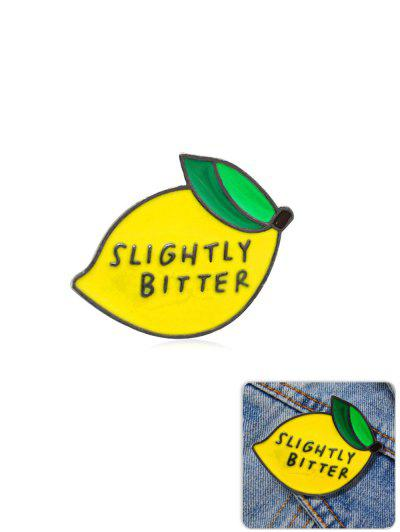 Lemon Letters Pattern Glazed Brooch - Yellow