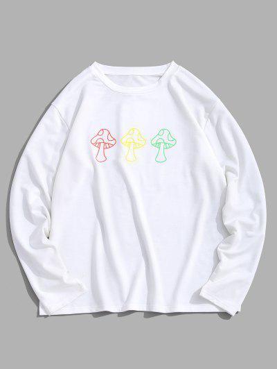 ZAFUL Cartoon Mushroom Print Pullover Sweatshirt - White M