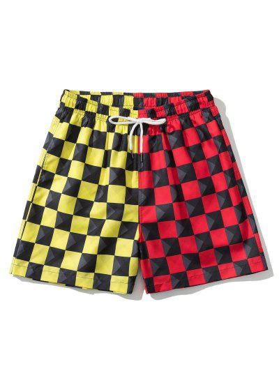 Colorblock Checkerboard Pattern Shorts - Red M