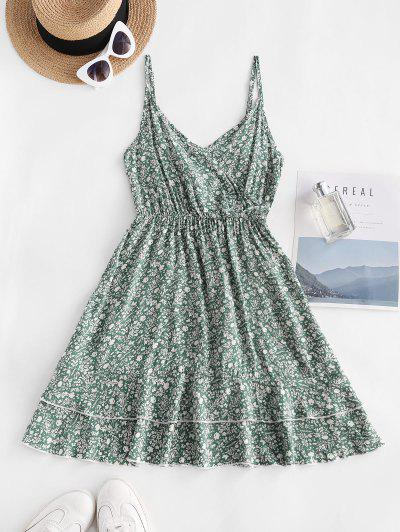 Ditsy Print Smocked Back Flouned Hem Surplice Sundress - Green L