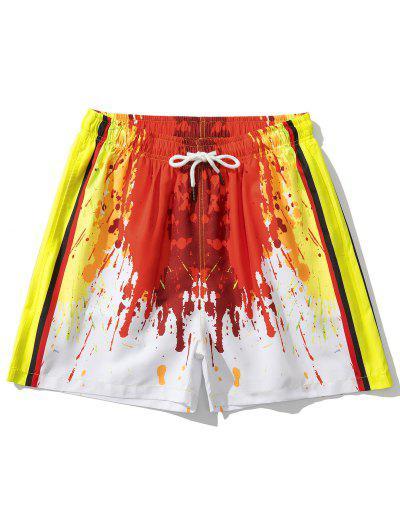 Painting Splash Print Vacation Shorts - Red L