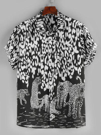 ZAFUL Colorblock Leopard Printed Holiday Shirt - Black L