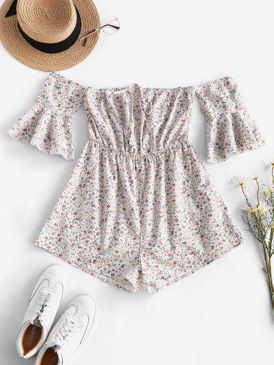 ZAFUL Tie Collar Ditsy Floral Off Shoulder Romper - White S