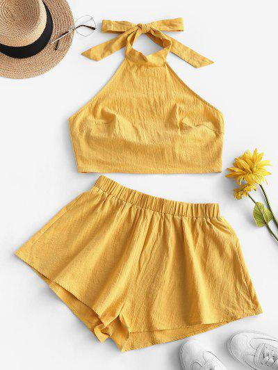 ZAFUL Tie Open Back Cropped Two Piece Set - Yellow S