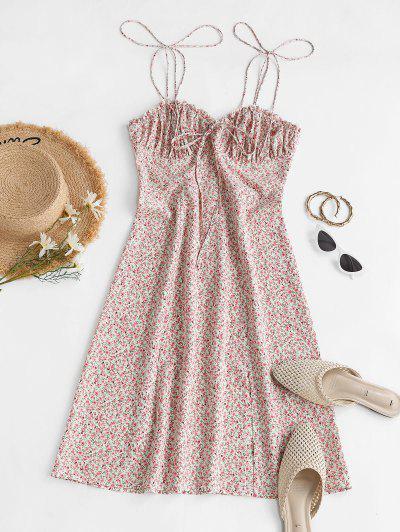 ZAFUL Front Slit Tie Shoulder Tiny Floral Dress