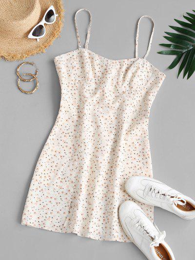 ZAFUL Tiny Floral Print Front Slit Mini Dress