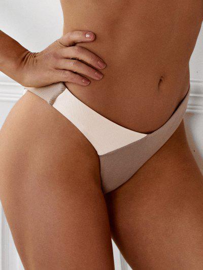 ZAFUL Colorblock Ribbed High Cut Bikini Bottom - Light Coffee L
