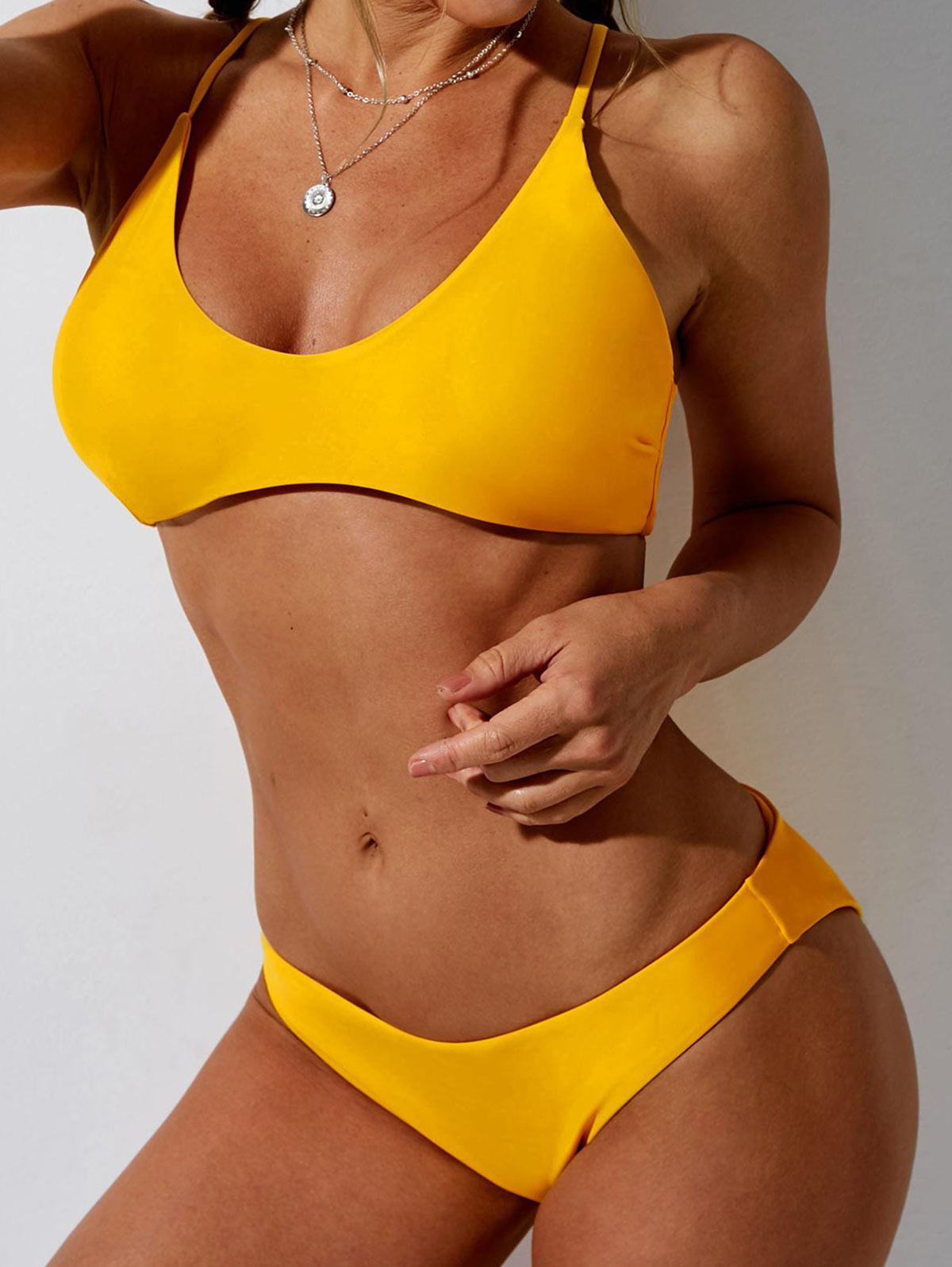 ZAFUL Solid Bralette Bikini Swimsuit