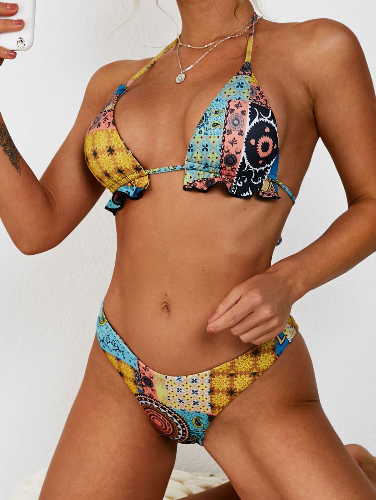ZAFUL Ethnic Print High Cut Frilled Ribbed Bikini Swimwear