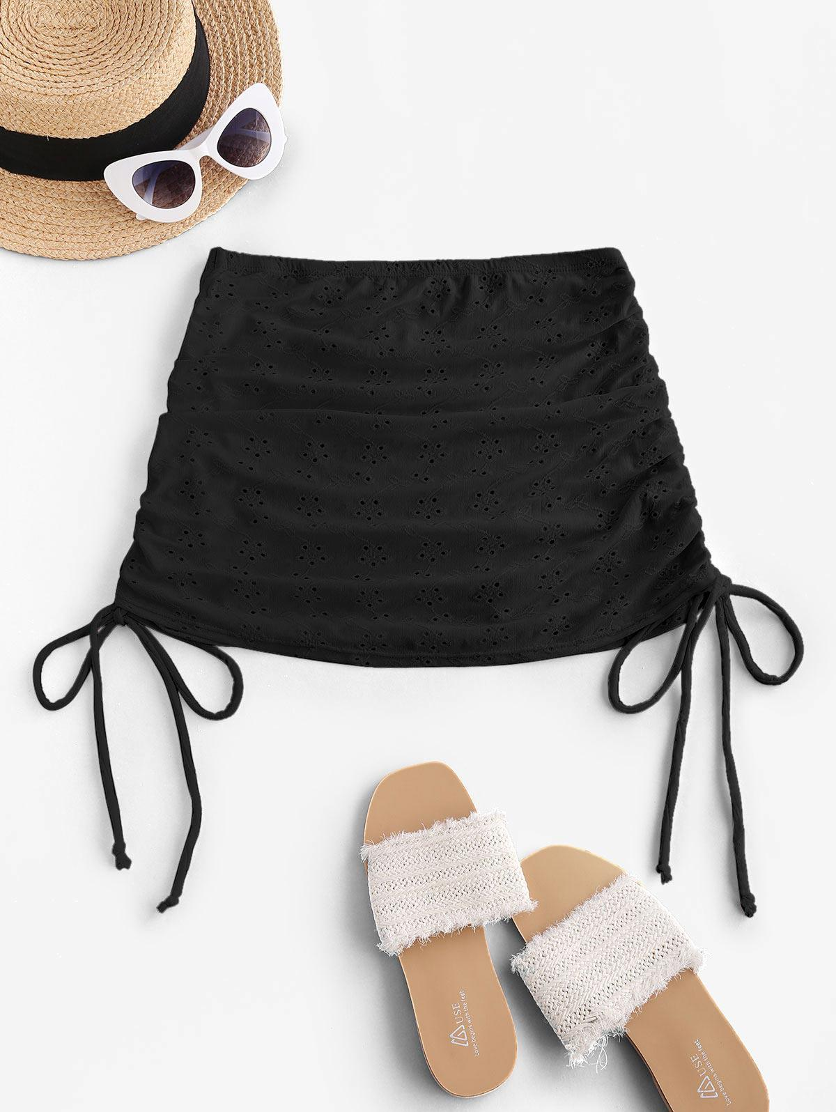 ZAFUL Broderie Anglaise Cinched Side Mini Beach Skirt