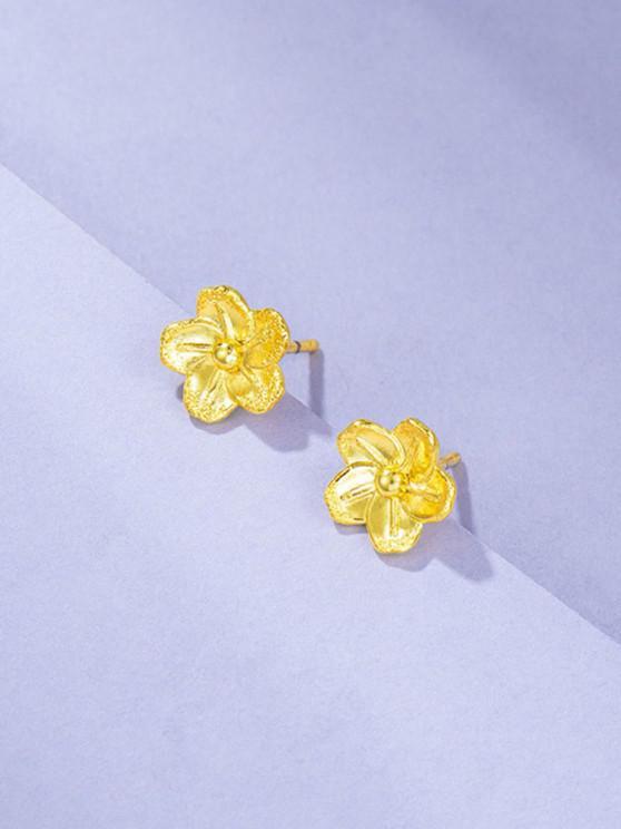 Flower Gold Plated Stud Earrings - ذهبي