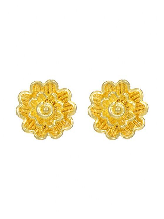 lady Layers Flower Gold Plated Stud Earrings - GOLDEN