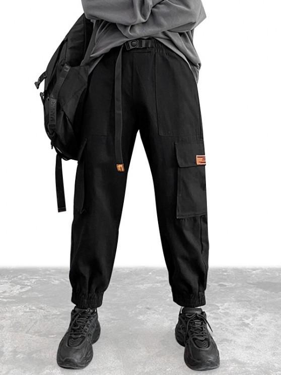 Flap Pockets Patch Cargo Pants - أسود S
