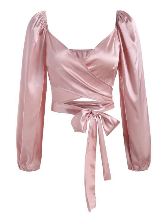 Satin Puff Sleeve Crop Wrap Blouse - وردي فاتح M