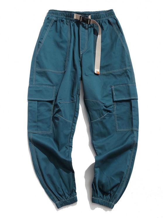 Calças de Multi-bolso com Cordão de Carga - Céu Azul M