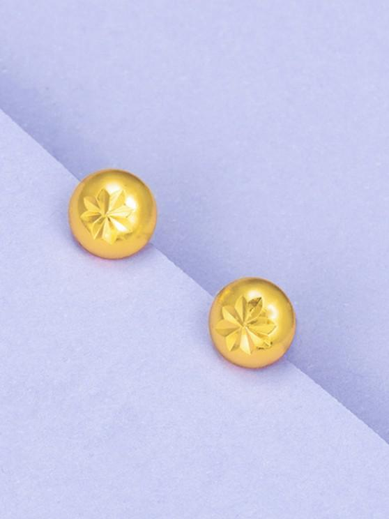 Retro Engraved Floral Stud Earrings - ذهبي