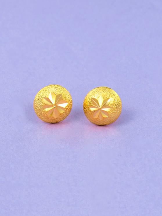 women Engraved Matte Button Gold Plated Earrings - GOLDEN