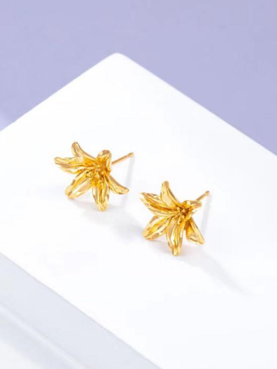 Carved Flower Gold Plated Earrings - ذهبي