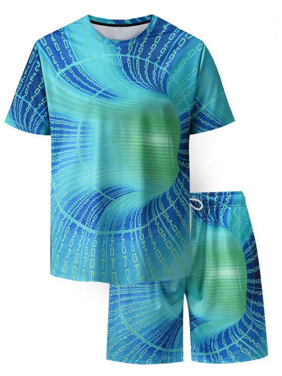 buy Letter Allover Print T-shirt And Shorts Two Piece Set - TURQUOISE XL