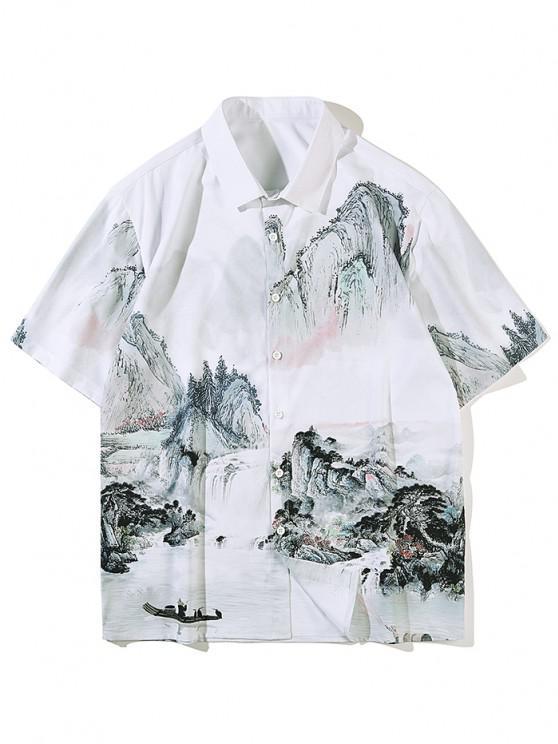 Chinesische Tuschmalerei Landschaftsdruck Kurzarm Hemd - Weiß L
