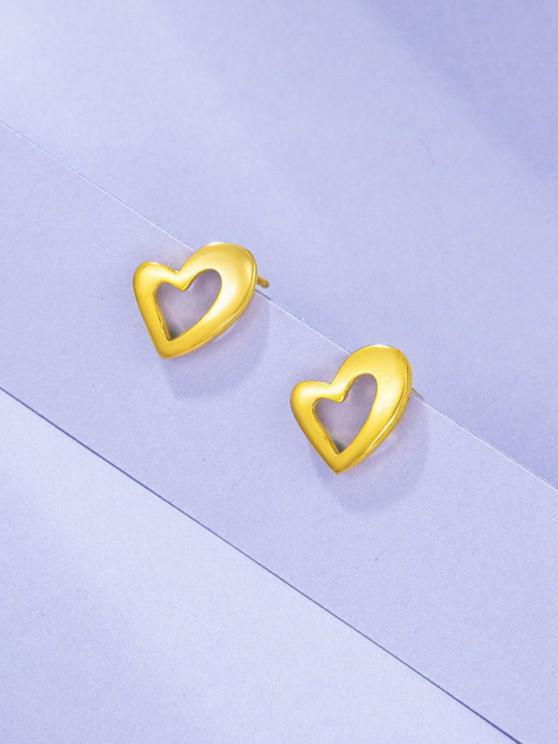 Gold Plated Irregular Heart Shape Stud Earrings - ذهبي