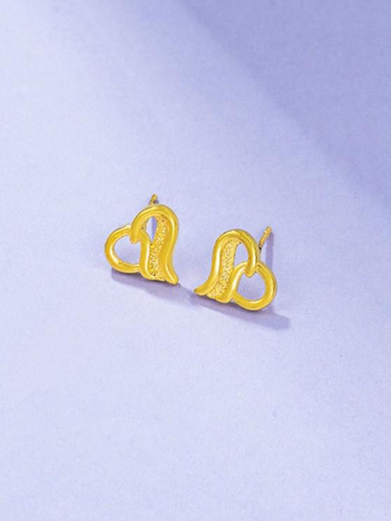 Ingenious Hollow Out Heart Shape Stud Earrings - ذهبي