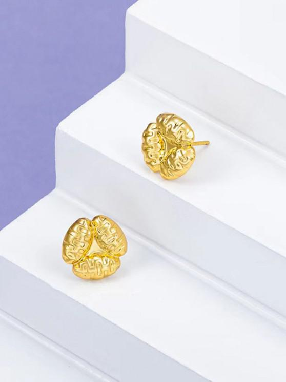 sale Gold Plated Floral Stud Earrings - GOLDEN